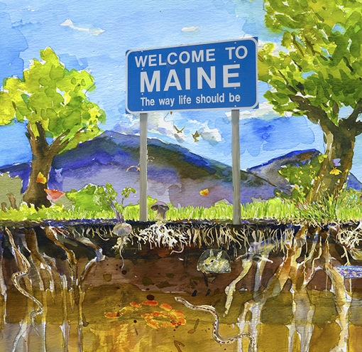 Symphony of the Soil Welcome To Maine Sign